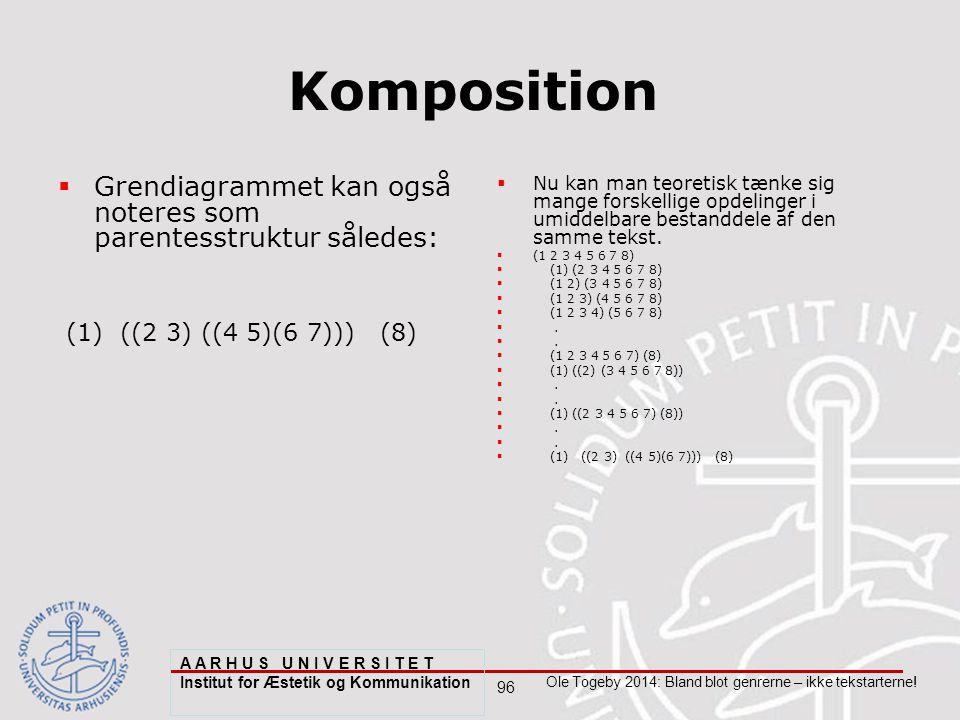 96 Ole Togeby 2014: Bland blot genrerne – ikke tekstarterne.