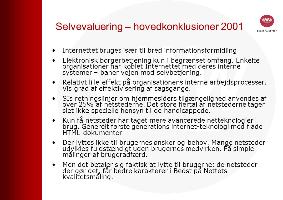 Selvevaluering – hovedkonklusioner 2001 Internettet bruges især til bred informationsformidling Elektronisk borgerbetjening kun i begrænset omfang.