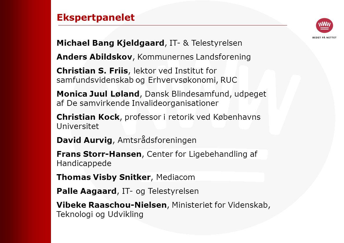 Ekspertpanelet Michael Bang Kjeldgaard, IT- & Telestyrelsen Anders Abildskov, Kommunernes Landsforening Christian S.