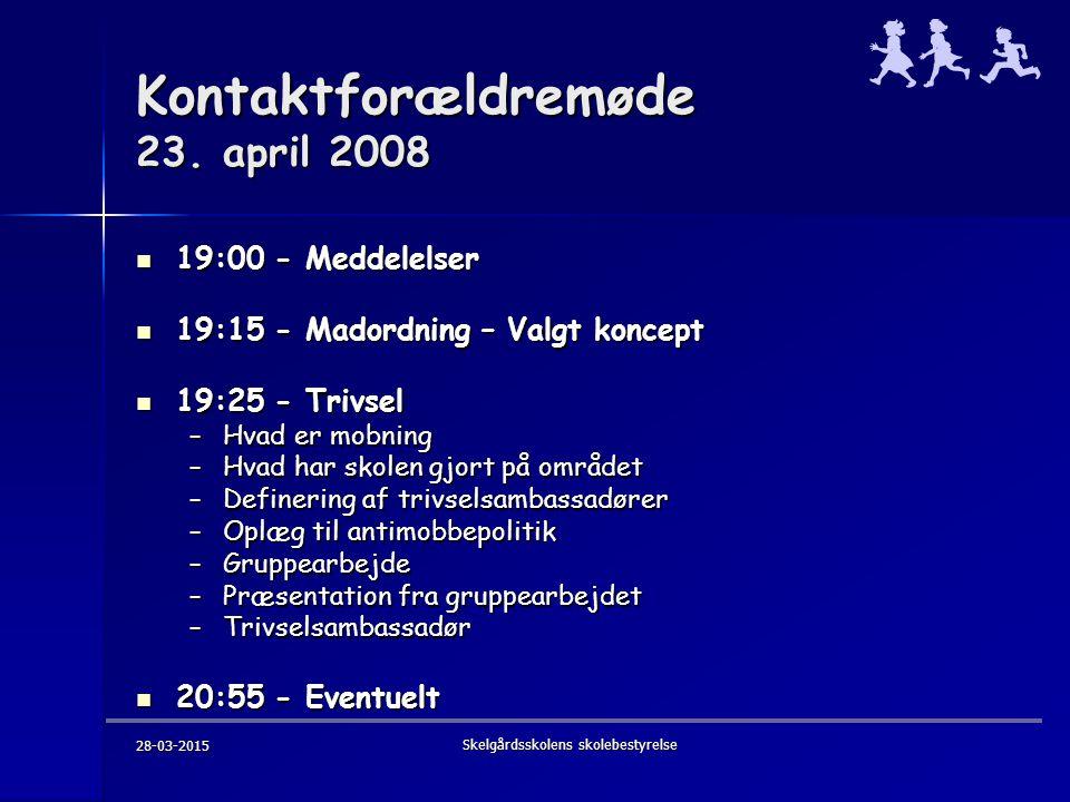 28-03-2015 Skelgårdsskolens skolebestyrelse Kontaktforældremøde 23.