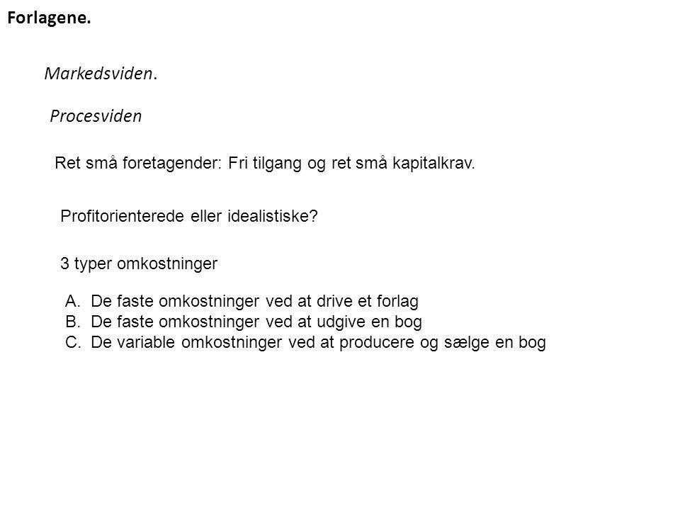 Markedsviden. Forlagene. Procesviden Ret små foretagender: Fri tilgang og ret små kapitalkrav.