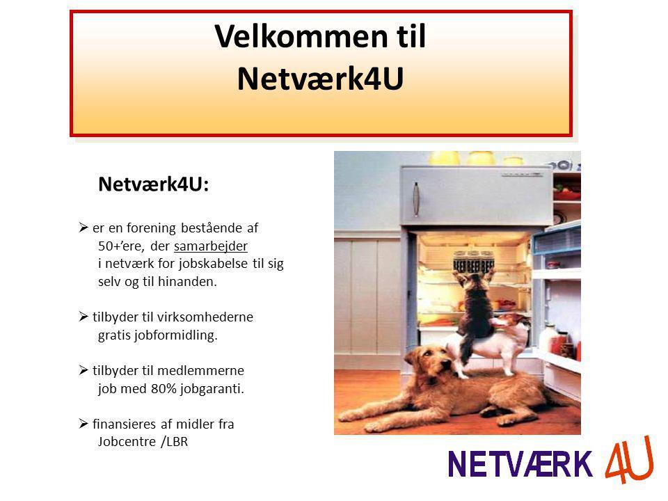 Velkommen til Netværk4U Velkommen til Netværk4U Netværk4U:  er en forening bestående af 50+'ere, der samarbejder i netværk for jobskabelse til sig selv og til hinanden.