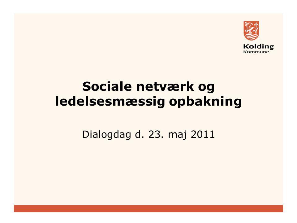 Sociale netværk og ledelsesmæssig opbakning Dialogdag d. 23. maj 2011