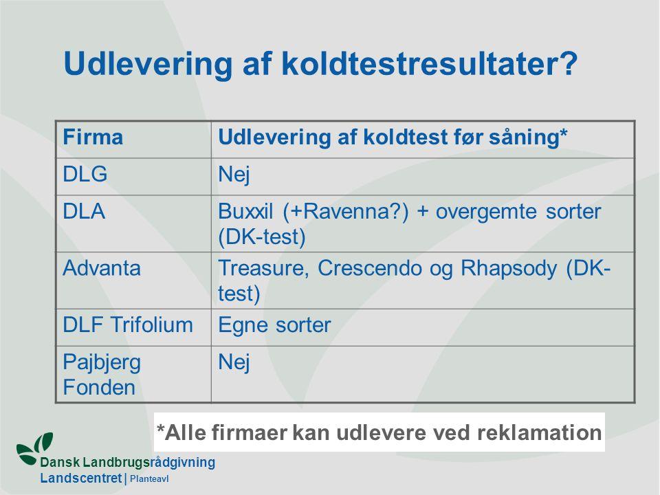 Dansk Landbrugsrådgivning Landscentret | Planteavl Udlevering af koldtestresultater.