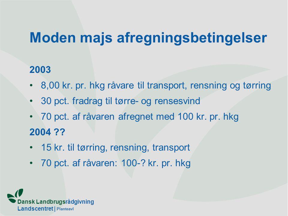 Dansk Landbrugsrådgivning Landscentret | Planteavl Moden majs afregningsbetingelser 2003 8,00 kr.