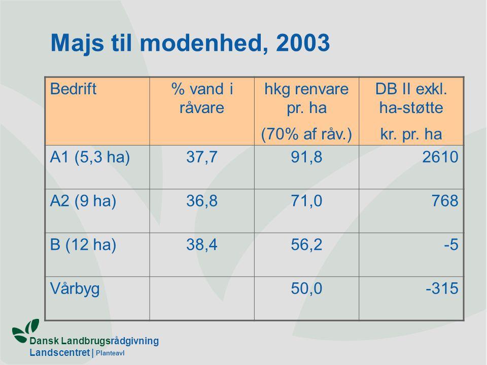 Dansk Landbrugsrådgivning Landscentret | Planteavl Majs til modenhed, 2003 Bedrift% vand i råvare hkg renvare pr.