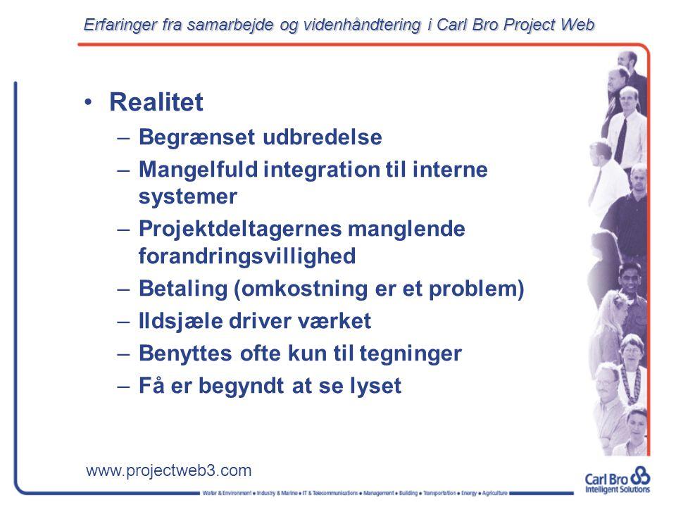 www.projectweb3.com Realitet –Begrænset udbredelse –Mangelfuld integration til interne systemer –Projektdeltagernes manglende forandringsvillighed –Betaling (omkostning er et problem) –Ildsjæle driver værket –Benyttes ofte kun til tegninger –Få er begyndt at se lyset Erfaringer fra samarbejde og videnhåndtering i Carl Bro Project Web