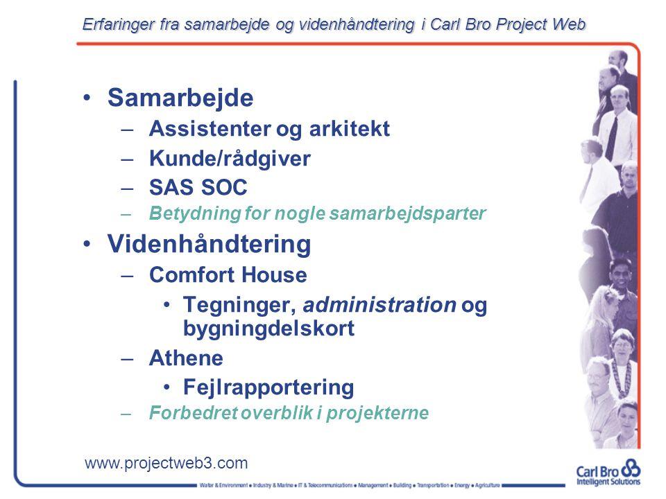 www.projectweb3.com Samarbejde –Assistenter og arkitekt –Kunde/rådgiver –SAS SOC –Betydning for nogle samarbejdsparter Videnhåndtering –Comfort House Tegninger, administration og bygningdelskort –Athene Fejlrapportering –Forbedret overblik i projekterne Erfaringer fra samarbejde og videnhåndtering i Carl Bro Project Web