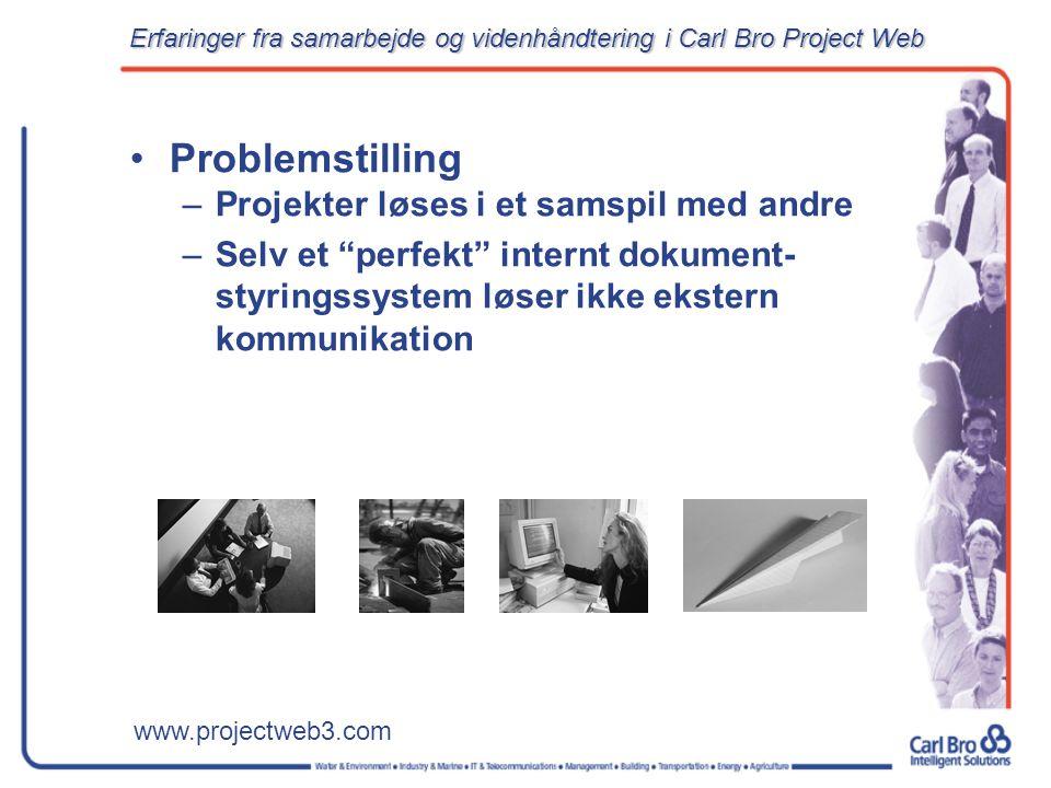 www.projectweb3.com Problemstilling –Projekter løses i et samspil med andre –Selv et perfekt internt dokument- styringssystem løser ikke ekstern kommunikation Erfaringer fra samarbejde og videnhåndtering i Carl Bro Project Web
