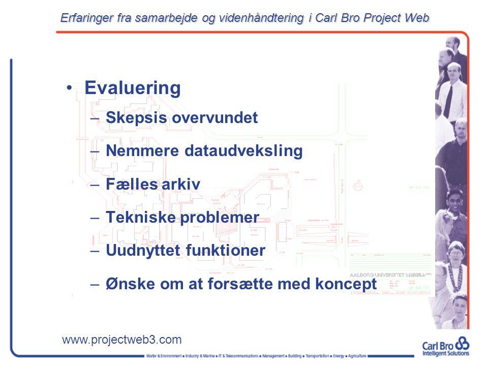 www.projectweb3.com Evaluering –Skepsis overvundet –Nemmere dataudveksling –Fælles arkiv –Tekniske problemer –Uudnyttet funktioner –Ønske om at forsætte med koncept Erfaringer fra samarbejde og videnhåndtering i Carl Bro Project Web