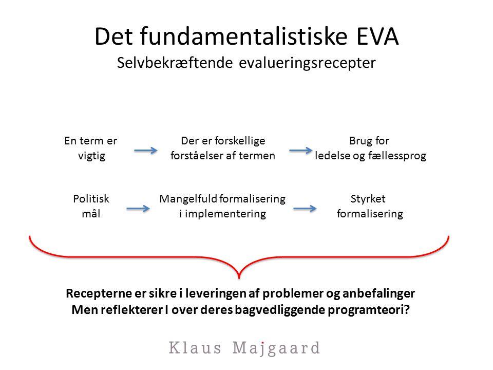 Det fundamentalistiske EVA Selvbekræftende evalueringsrecepter Recepterne er sikre i leveringen af problemer og anbefalinger Men reflekterer I over deres bagvedliggende programteori.