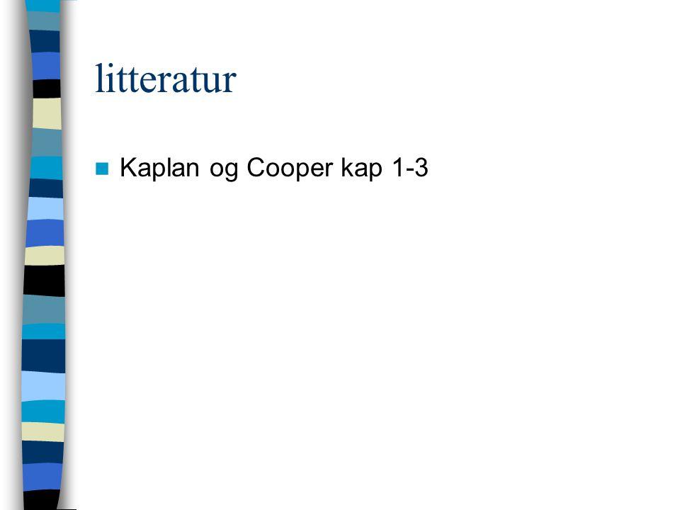 litteratur Kaplan og Cooper kap 1-3