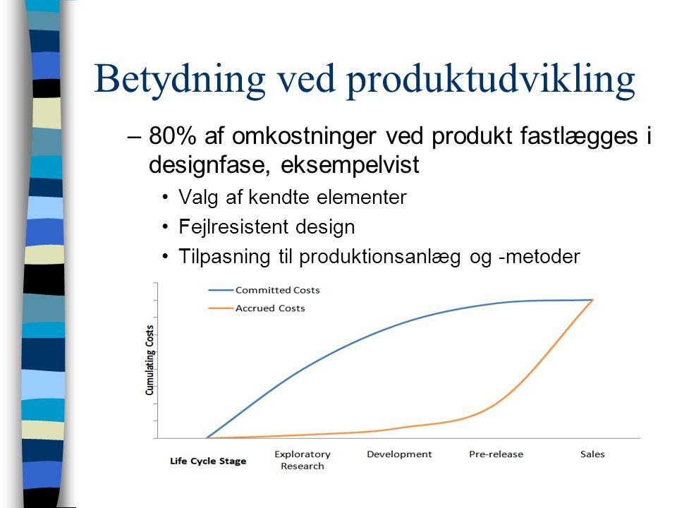Betydning ved produktudvikling –80% af omkostninger ved produkt fastlægges i designfase, eksempelvist Valg af kendte elementer Fejlresistent design Tilpasning til produktionsanlæg og -metoder