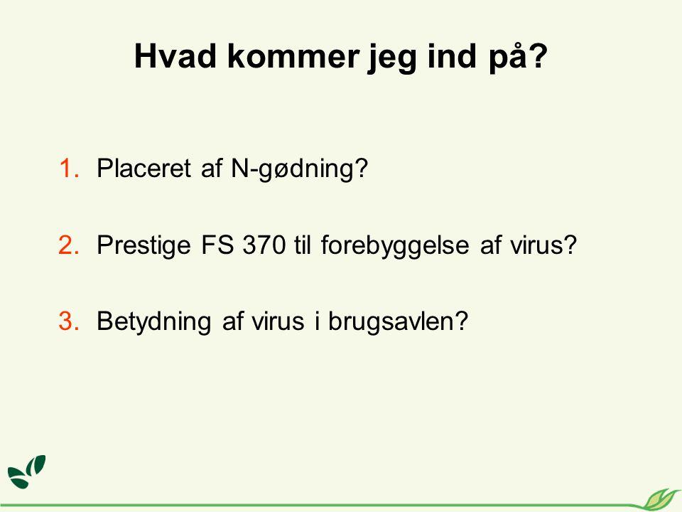 Hvad kommer jeg ind på. 1.Placeret af N-gødning. 2.Prestige FS 370 til forebyggelse af virus.