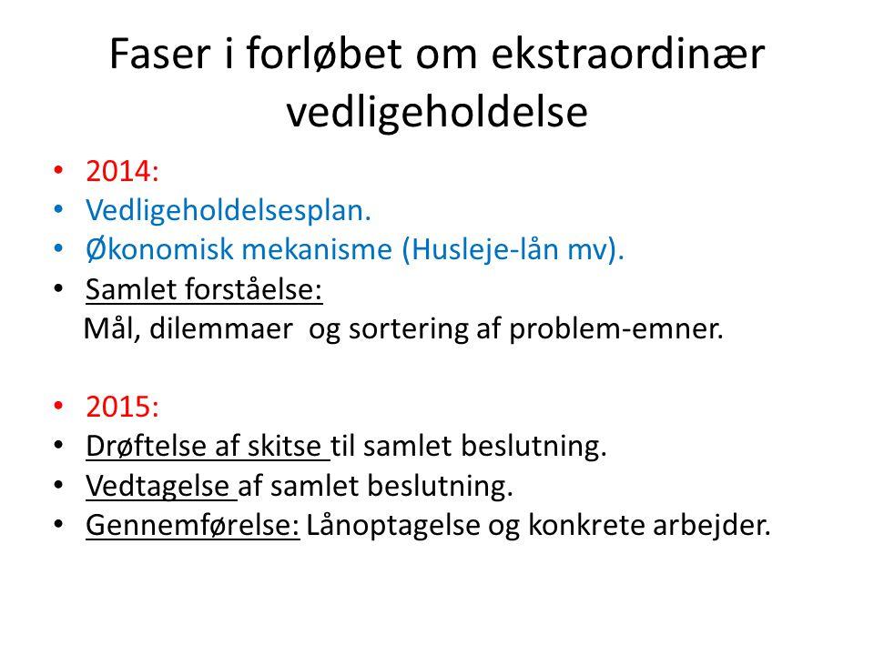 Faser i forløbet om ekstraordinær vedligeholdelse 2014: Vedligeholdelsesplan.