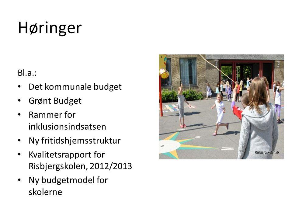 Høringer Bl.a.: Det kommunale budget Grønt Budget Rammer for inklusionsindsatsen Ny fritidshjemsstruktur Kvalitetsrapport for Risbjergskolen, 2012/2013 Ny budgetmodel for skolerne