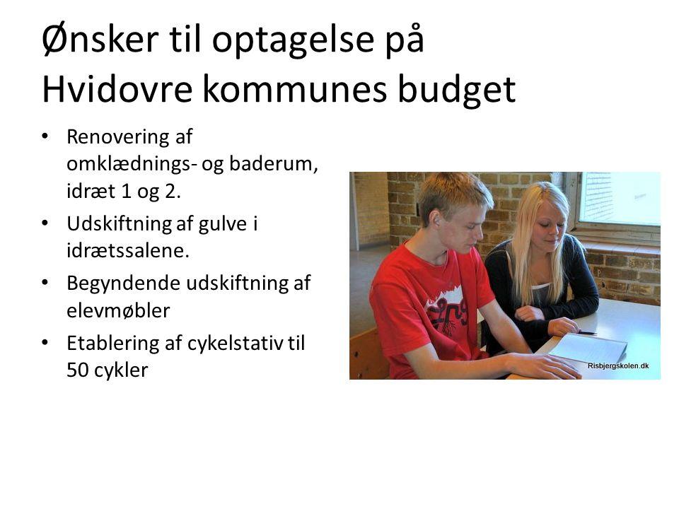 Ønsker til optagelse på Hvidovre kommunes budget Renovering af omklædnings- og baderum, idræt 1 og 2.