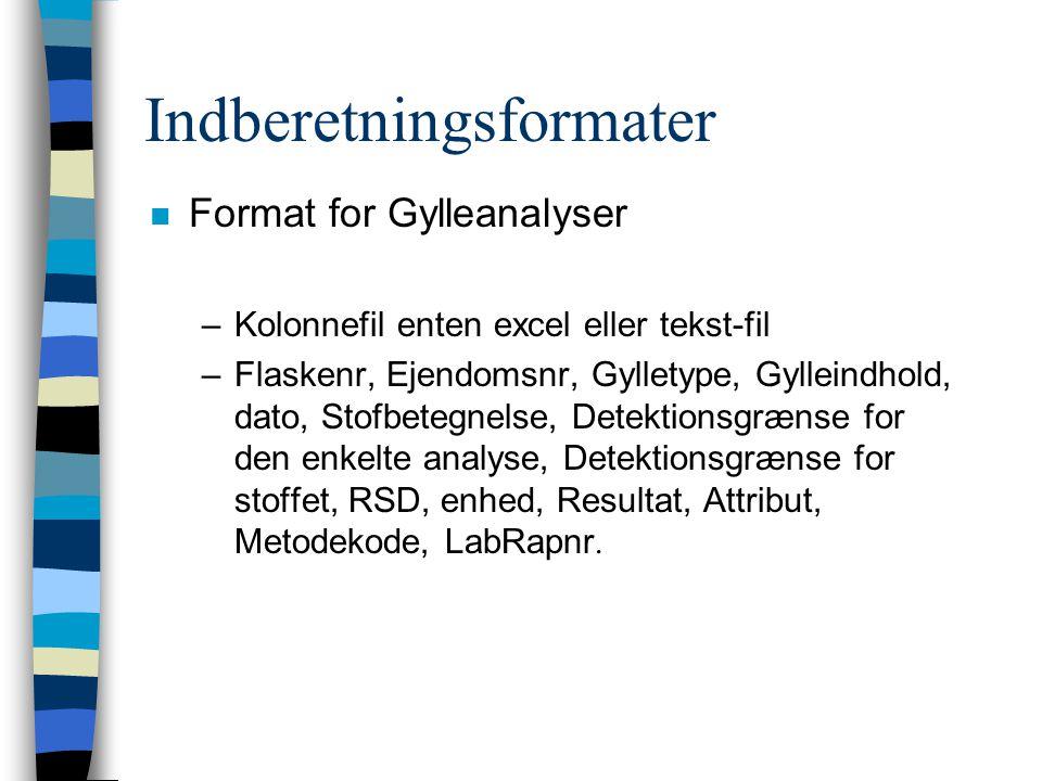 Indberetningsformater n Format for Gylleanalyser –Kolonnefil enten excel eller tekst-fil –Flaskenr, Ejendomsnr, Gylletype, Gylleindhold, dato, Stofbetegnelse, Detektionsgrænse for den enkelte analyse, Detektionsgrænse for stoffet, RSD, enhed, Resultat, Attribut, Metodekode, LabRapnr.