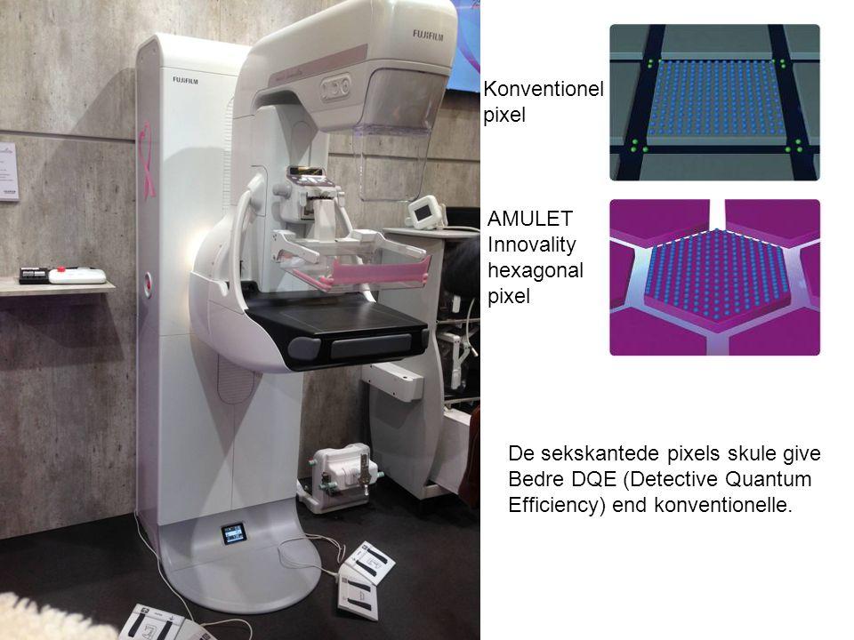 Konventionel pixel AMULET Innovality hexagonal pixel De sekskantede pixels skule give Bedre DQE (Detective Quantum Efficiency) end konventionelle.