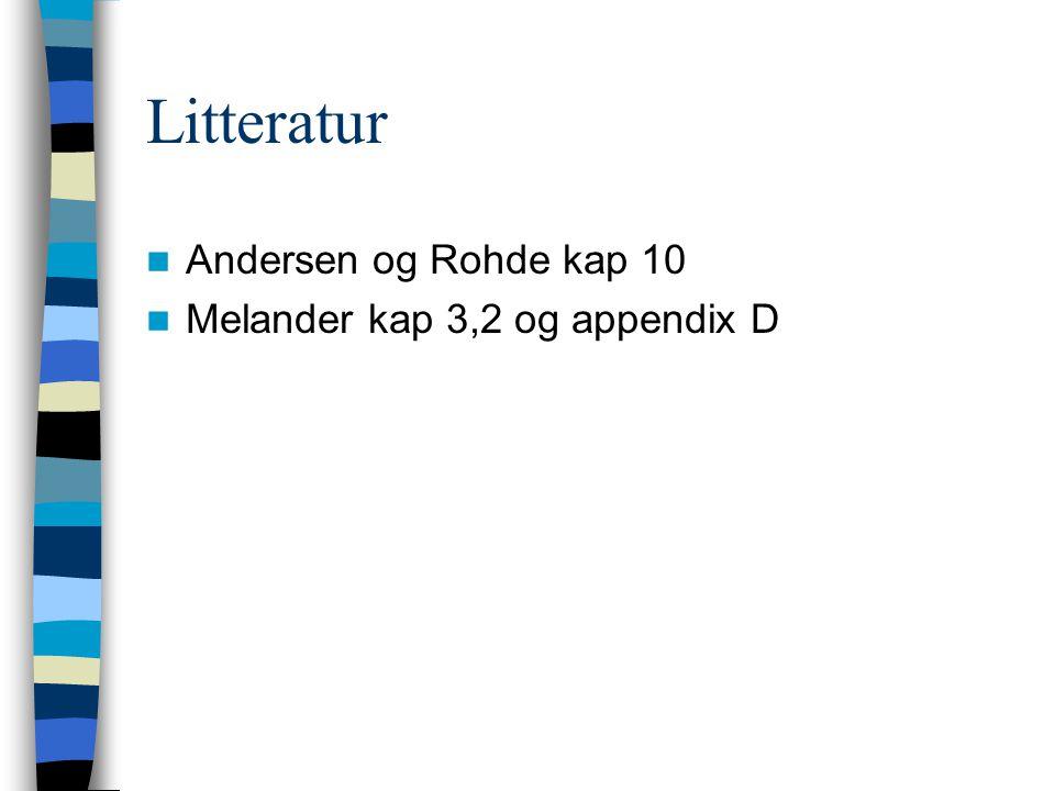 Litteratur Andersen og Rohde kap 10 Melander kap 3,2 og appendix D