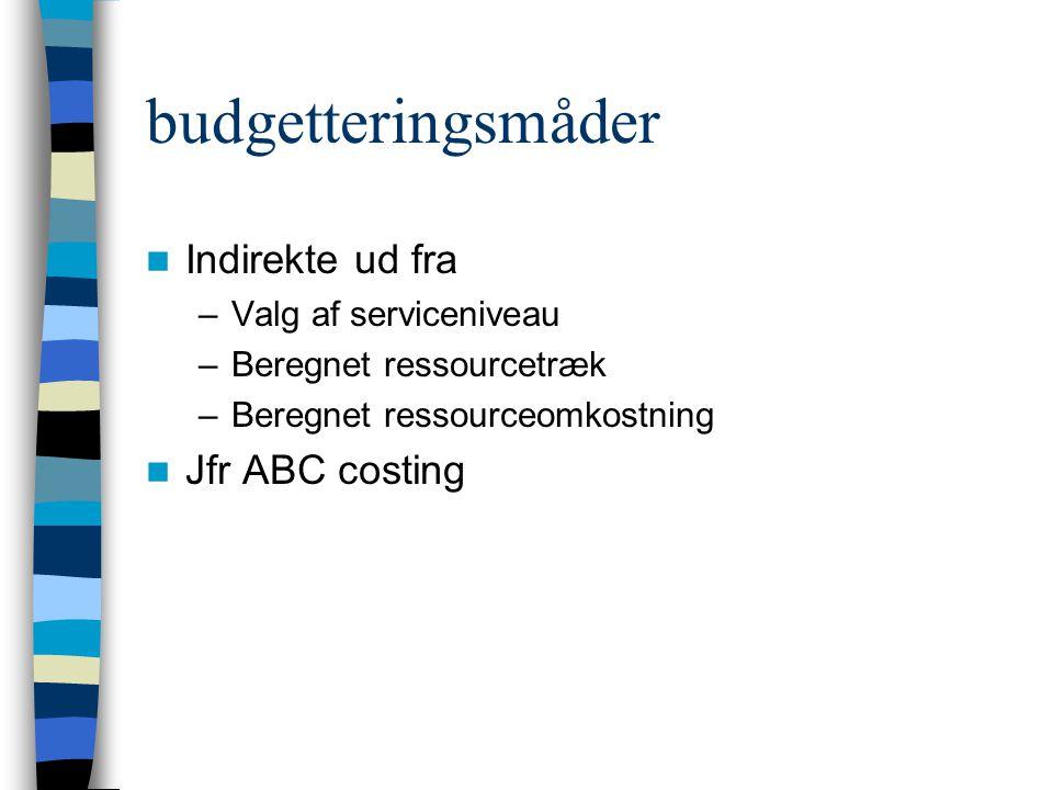 budgetteringsmåder Indirekte ud fra –Valg af serviceniveau –Beregnet ressourcetræk –Beregnet ressourceomkostning Jfr ABC costing