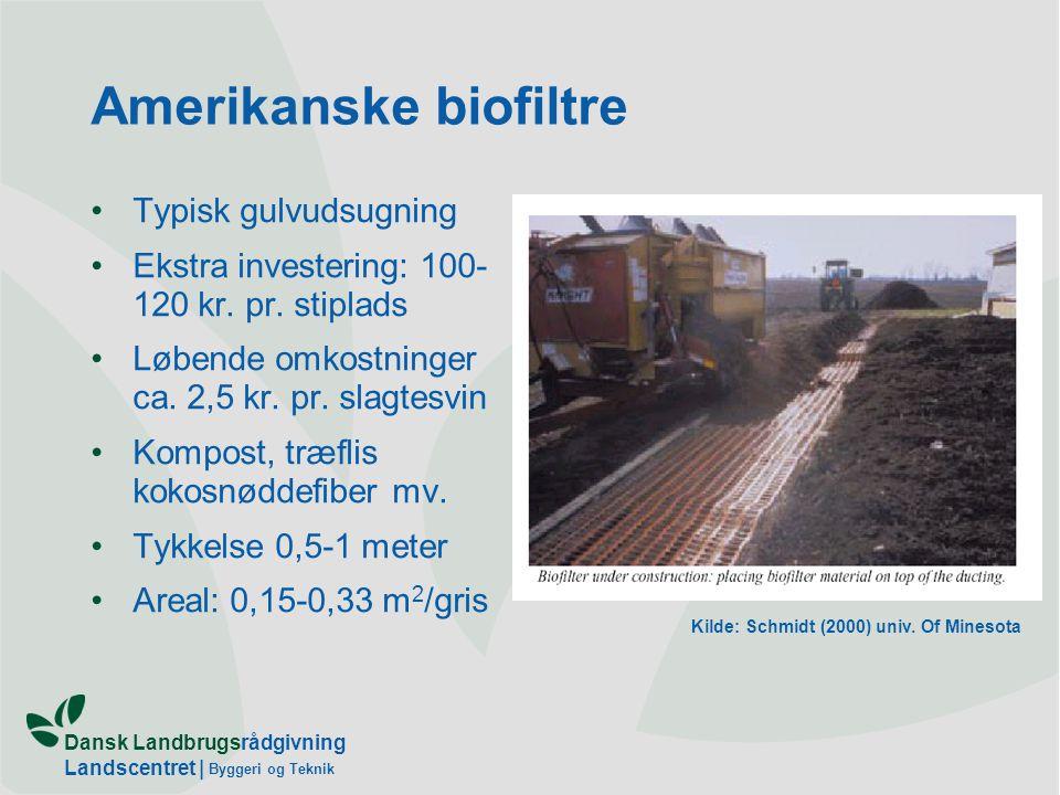 Dansk Landbrugsrådgivning Landscentret | Byggeri og Teknik Amerikanske biofiltre Typisk gulvudsugning Ekstra investering: 100- 120 kr.
