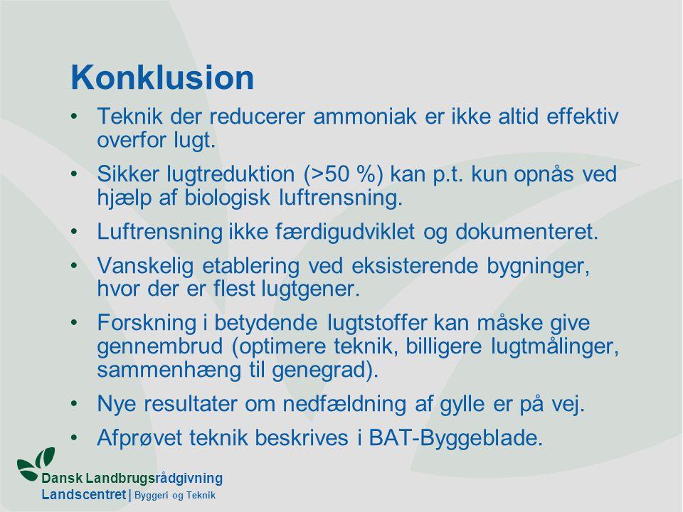 Dansk Landbrugsrådgivning Landscentret | Byggeri og Teknik Konklusion Teknik der reducerer ammoniak er ikke altid effektiv overfor lugt.