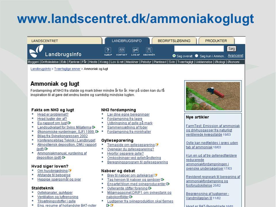Dansk Landbrugsrådgivning Landscentret | Byggeri og Teknik www.landscentret.dk/ammoniakoglugt