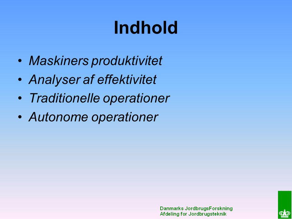 Indhold Maskiners produktivitet Analyser af effektivitet Traditionelle operationer Autonome operationer