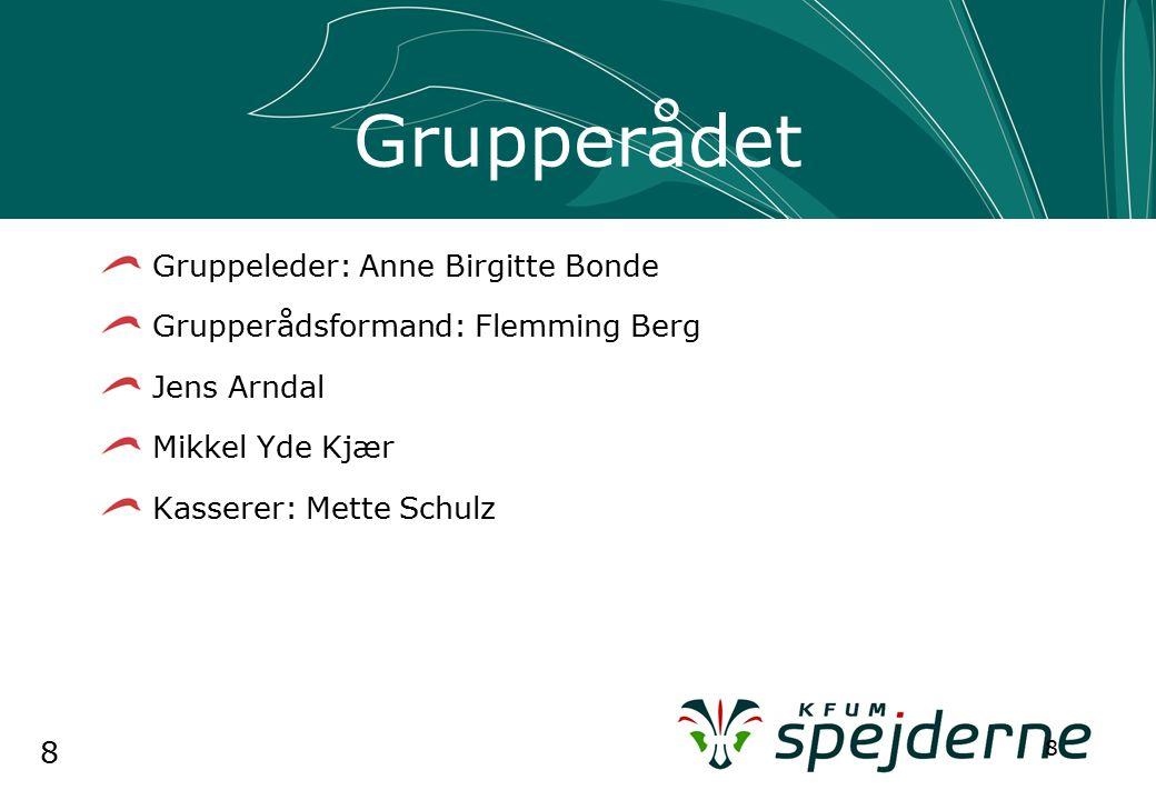 8 8 Grupperådet Gruppeleder: Anne Birgitte Bonde Grupperådsformand: Flemming Berg Jens Arndal Mikkel Yde Kjær Kasserer: Mette Schulz