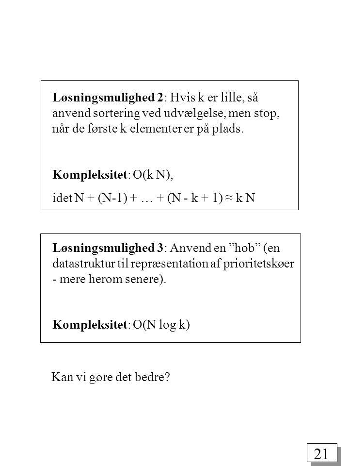 21 Løsningsmulighed 2: Hvis k er lille, så anvend sortering ved udvælgelse, men stop, når de første k elementer er på plads.