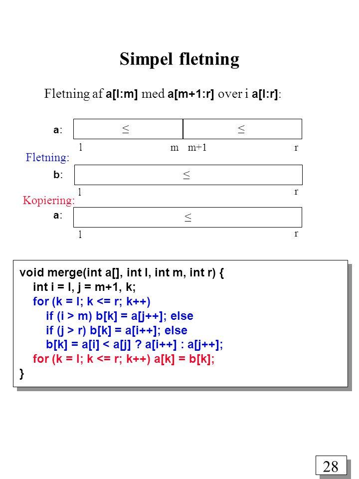 28 void merge(int a[], int l, int m, int r) { int i = l, j = m+1, k; for (k = l; k <= r; k++) if (i > m) b[k] = a[j++]; else if (j > r) b[k] = a[i++]; else b[k] = a[i] < a[j] .