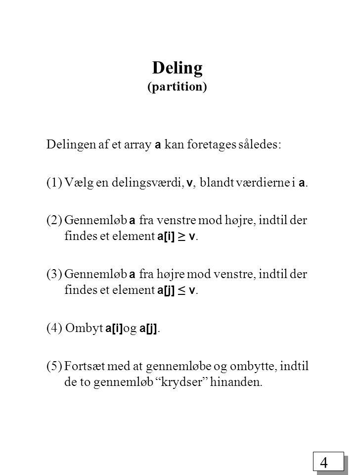 4 Deling (partition) Delingen af et array a kan foretages således: (1)Vælg en delingsværdi, v, blandt værdierne i a.