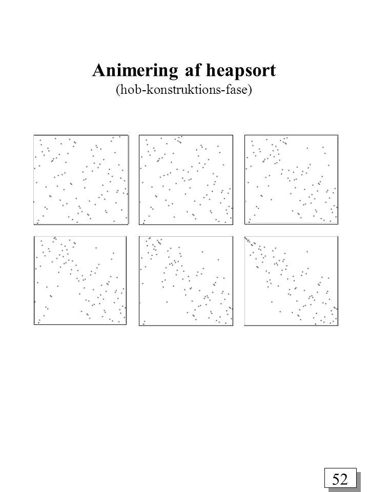 52 Animering af heapsort (hob-konstruktions-fase)