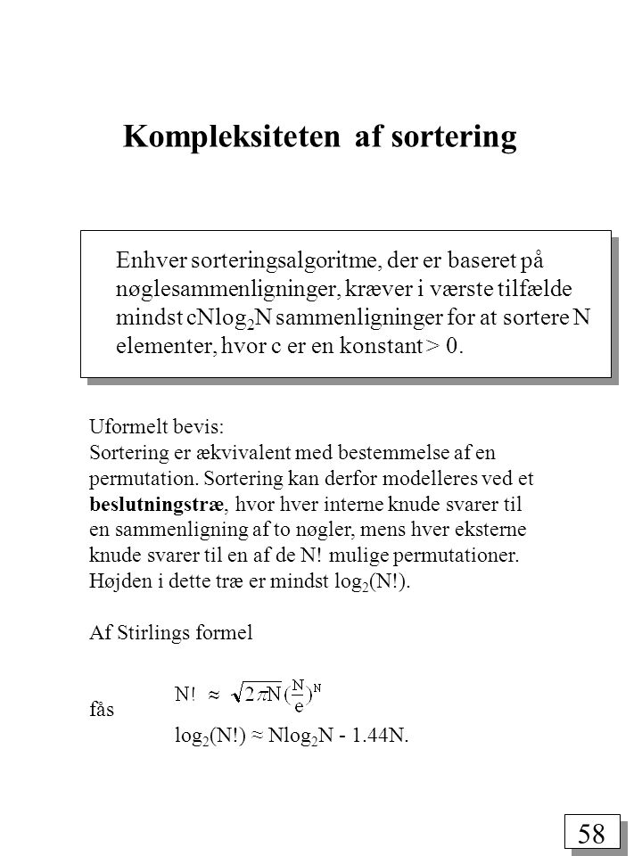 58 Uformelt bevis: Sortering er ækvivalent med bestemmelse af en permutation.