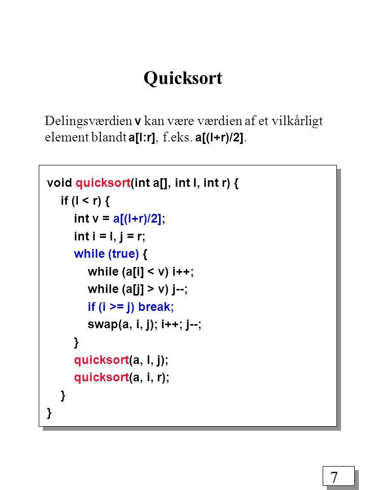 7 void quicksort(int a[], int l, int r) { if (l < r) { int v = a[(l+r)/2]; int i = l, j = r; while (true) { while (a[i] < v) i++; while (a[j] > v) j--; if (i >= j) break; swap(a, i, j); i++; j--; } quicksort(a, l, j); quicksort(a, i, r); } Quicksort Delingsværdien v kan være værdien af et vilkårligt element blandt a[l:r], f.eks.