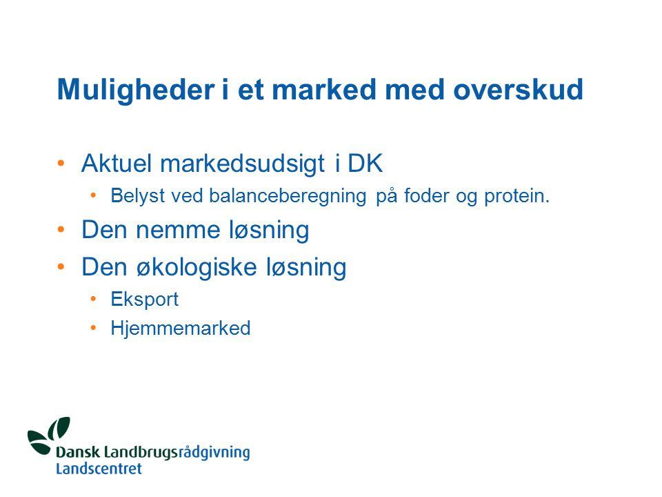 Muligheder i et marked med overskud Aktuel markedsudsigt i DK Belyst ved balanceberegning på foder og protein.