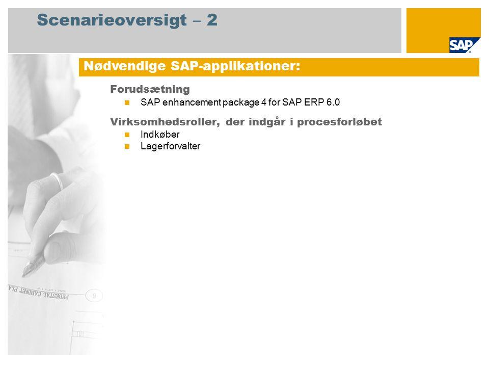 Scenarieoversigt – 2 Forudsætning SAP enhancement package 4 for SAP ERP 6.0 Virksomhedsroller, der indgår i procesforløbet Indkøber Lagerforvalter Nødvendige SAP-applikationer: