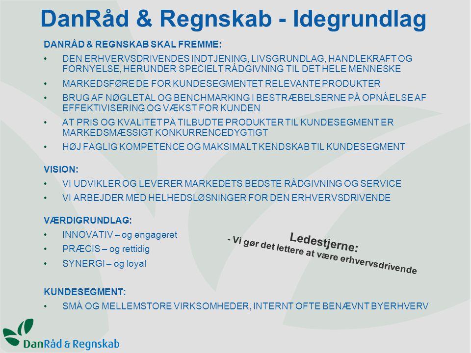 DanRåd & Regnskab - Idegrundlag DANRÅD & REGNSKAB SKAL FREMME: DEN ERHVERVSDRIVENDES INDTJENING, LIVSGRUNDLAG, HANDLEKRAFT OG FORNYELSE, HERUNDER SPECIELT RÅDGIVNING TIL DET HELE MENNESKE MARKEDSFØRE DE FOR KUNDESEGMENTET RELEVANTE PRODUKTER BRUG AF NØGLETAL OG BENCHMARKING I BESTRÆBELSERNE PÅ OPNÅELSE AF EFFEKTIVISERING OG VÆKST FOR KUNDEN AT PRIS OG KVALITET PÅ TILBUDTE PRODUKTER TIL KUNDESEGMENT ER MARKEDSMÆSSIGT KONKURRENCEDYGTIGT HØJ FAGLIG KOMPETENCE OG MAKSIMALT KENDSKAB TIL KUNDESEGMENT VISION: VI UDVIKLER OG LEVERER MARKEDETS BEDSTE RÅDGIVNING OG SERVICE VI ARBEJDER MED HELHEDSLØSNINGER FOR DEN ERHVERVSDRIVENDE VÆRDIGRUNDLAG: INNOVATIV – og engageret PRÆCIS – og rettidig SYNERGI – og loyal KUNDESEGMENT: SMÅ OG MELLEMSTORE VIRKSOMHEDER, INTERNT OFTE BENÆVNT BYERHVERV Ledestjerne: - Vi gør det lettere at være erhvervsdrivende