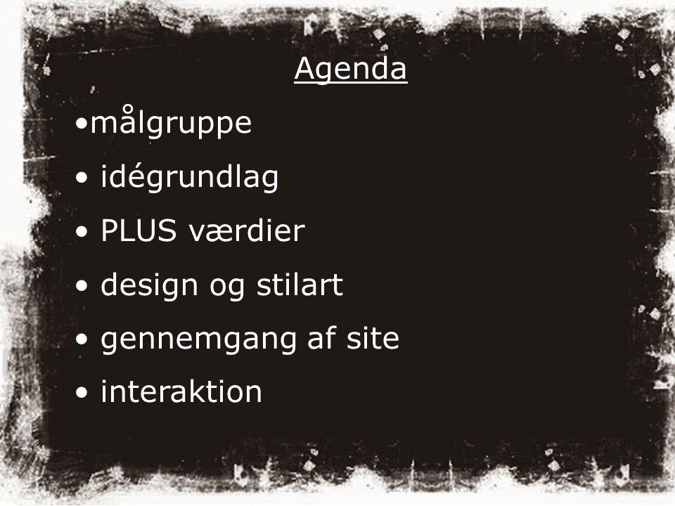 Agenda målgruppe idégrundlag PLUS værdier design og stilart gennemgang af site interaktion