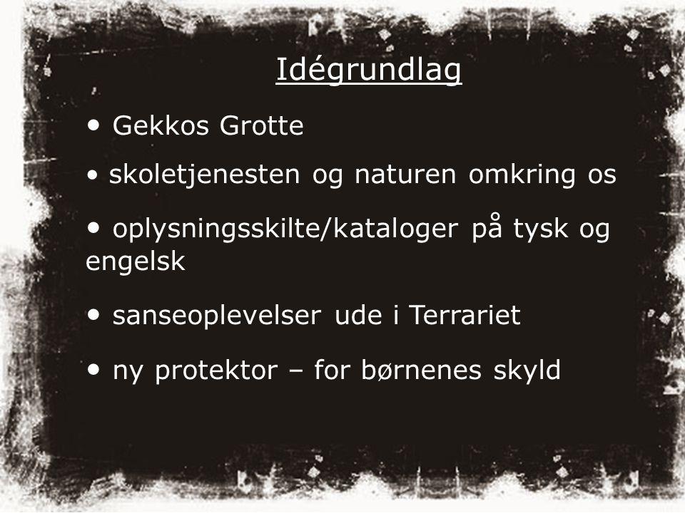Idégrundlag Gekkos Grotte skoletjenesten og naturen omkring os oplysningsskilte/kataloger på tysk og engelsk sanseoplevelser ude i Terrariet ny protektor – for børnenes skyld