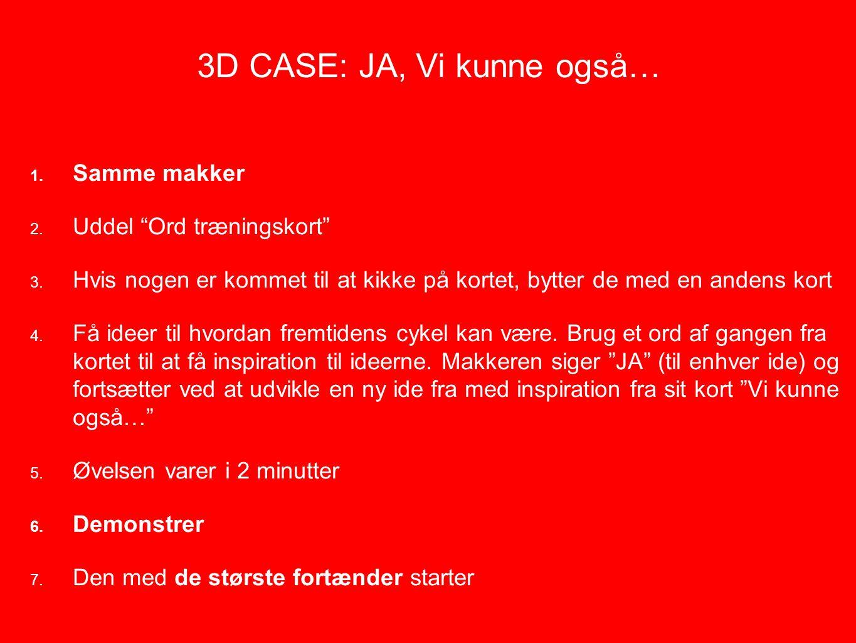3D CASE: JA, Vi kunne også… 1. Samme makker 2. Uddel Ord træningskort 3.