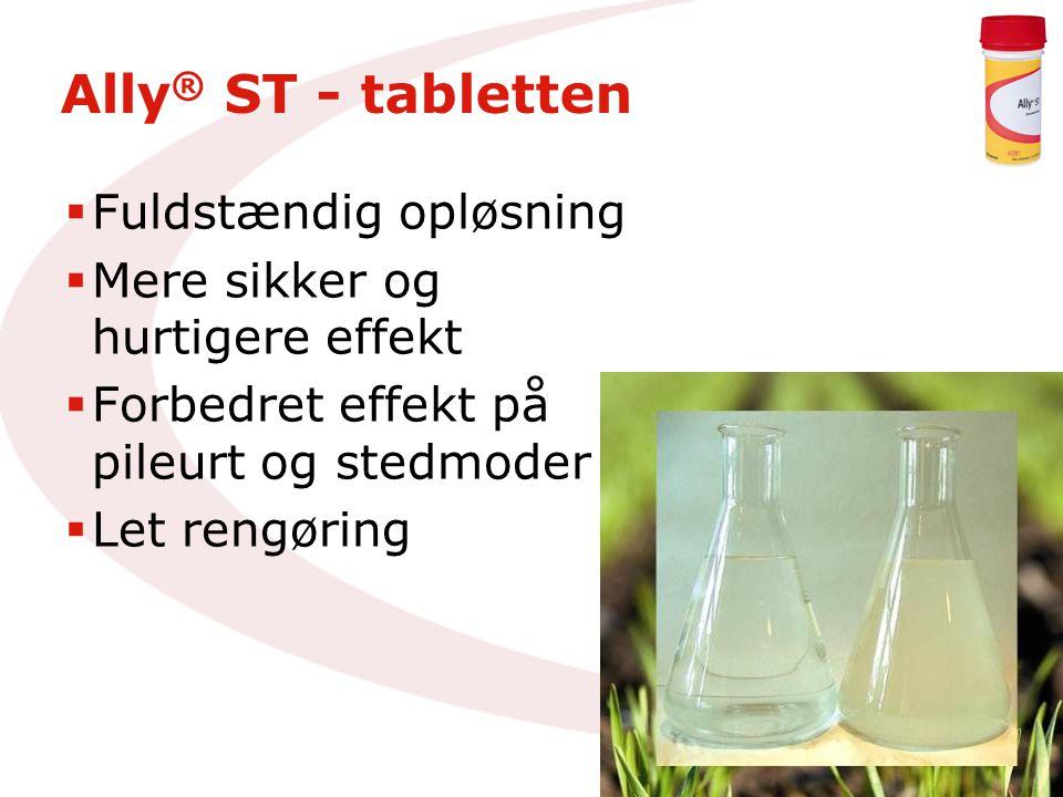Ally ® ST - tabletten  Fuldstændig opløsning  Mere sikker og hurtigere effekt  Forbedret effekt på pileurt og stedmoder  Let rengøring