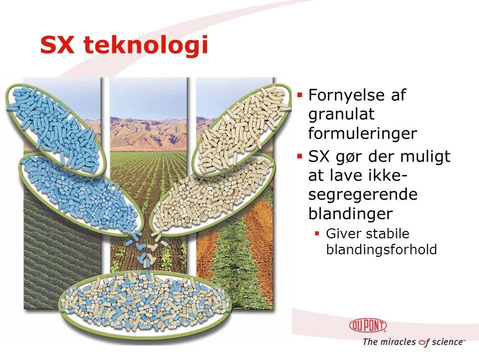 SX teknologi  Fornyelse af granulat formuleringer  SX gør der muligt at lave ikke- segregerende blandinger  Giver stabile blandingsforhold