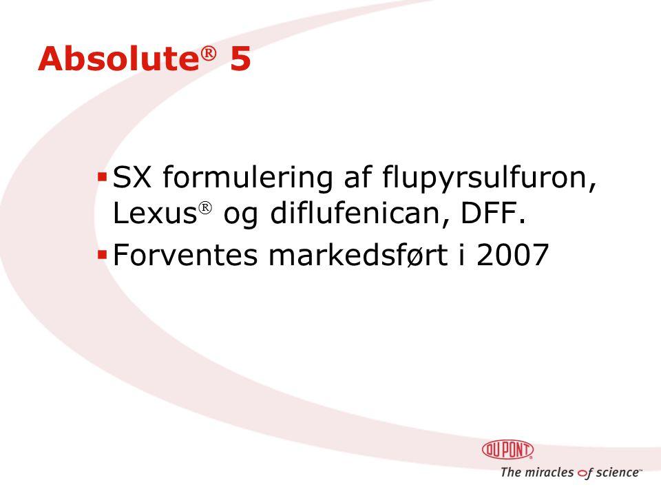 Absolute  5  SX formulering af flupyrsulfuron, Lexus  og diflufenican, DFF.