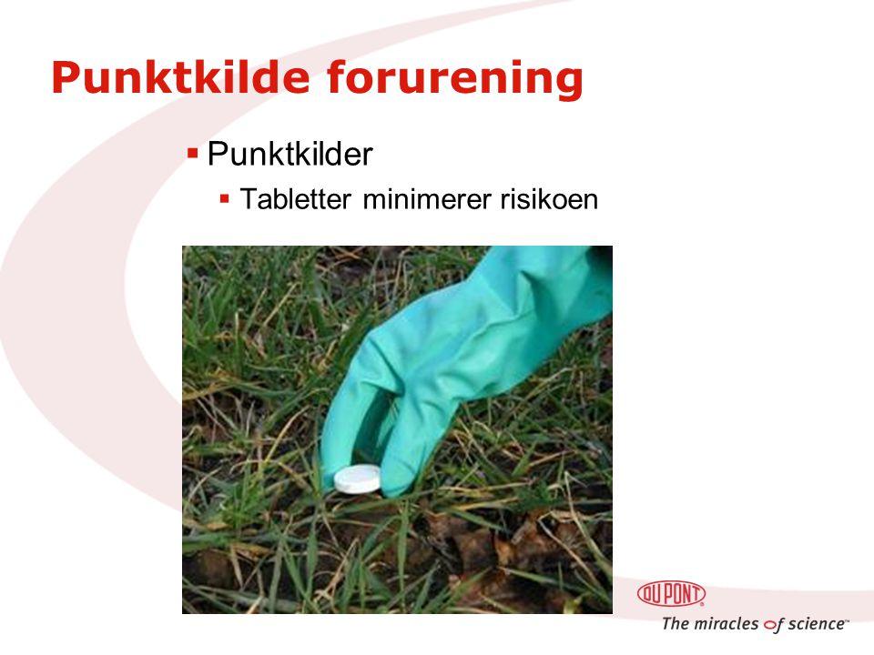 Punktkilde forurening  Punktkilder  Tabletter minimerer risikoen