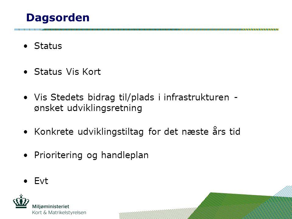 Dagsorden Status Status Vis Kort Vis Stedets bidrag til/plads i infrastrukturen - ønsket udviklingsretning Konkrete udviklingstiltag for det næste års tid Prioritering og handleplan Evt
