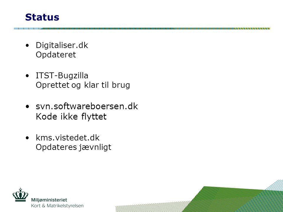 Status Digitaliser.dk Opdateret ITST-Bugzilla Oprettet og klar til brug svn.softwareboersen.dk Kode ikke flyttet kms.vistedet.dk Opdateres jævnligt