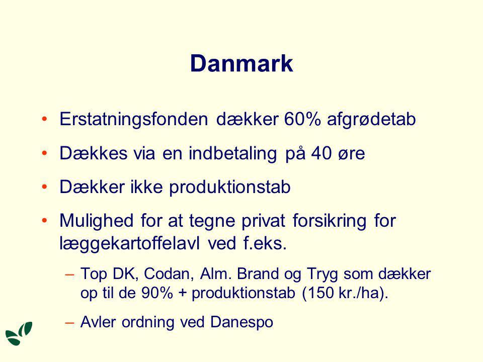 Danmark Erstatningsfonden dækker 60% afgrødetab Dækkes via en indbetaling på 40 øre Dækker ikke produktionstab Mulighed for at tegne privat forsikring for læggekartoffelavl ved f.eks.
