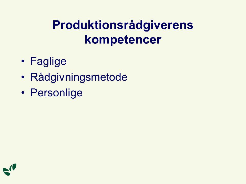 Produktionsrådgiverens kompetencer Faglige Rådgivningsmetode Personlige